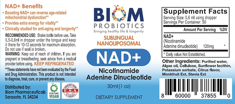 Best anti-aging supplement | Biom Probiotics | NAD+ Sublingual Spray