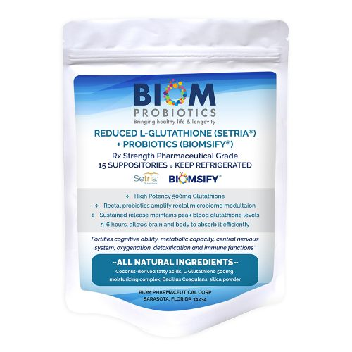 1- Gut Microbiome Human Health Probiotics | Biom | High Potency Glutathione Suppository Probiotics | Probiotics | L-Glutathione + Probiotic Suppositories | High Potency Glutathione Suppository | L-Glutathione Probiotic Suppository