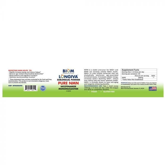 Promotes Healthy Aging | Biom Probiotics | Biom NMN Sublingual Powder | NMN Sublingual Powder